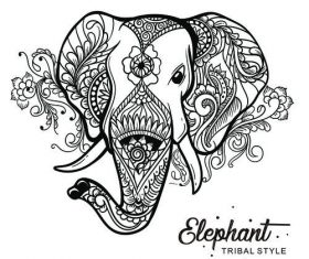 elephant head tribal style Hand drawn vector
