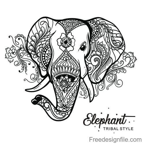 elephant head tribal style Hand drawn vector