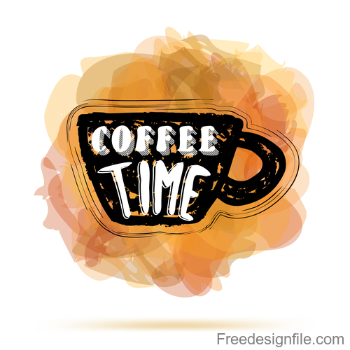 hand drawn coffee cup with lettering vector
