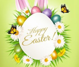 holiday easter background with colorful easter eggs and rabbit ears vector