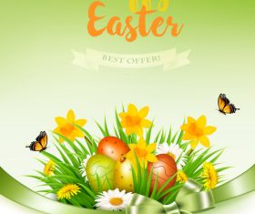 holiday easter background with grass and flowers and colorful eggs vector