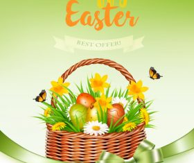 holiday easter banners with grass and flowers in basket vector