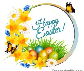 holiday easter getting card with flowers and grass vector
