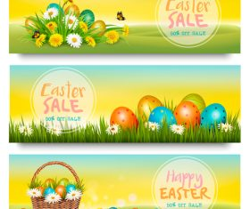 holiday easter sale banners with green grass and colorful eggs vector