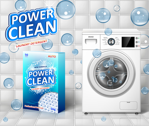 laundry detergent poster template vectors design