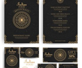 luxury menu temlate with retro card vector 01
