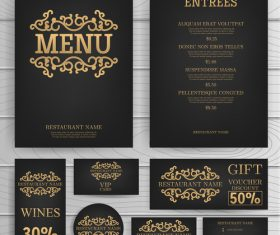 luxury menu temlate with retro card vector 02