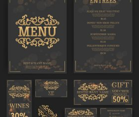 luxury menu temlate with retro card vector 03