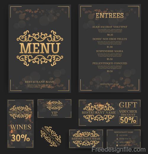 luxury menu temlate with retro card vector 03