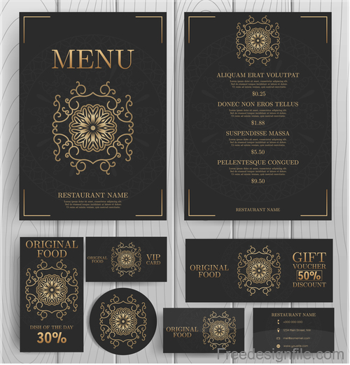 luxury menu temlate with retro card vector 04