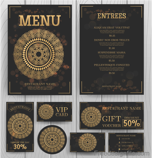 luxury menu temlate with retro card vector 05