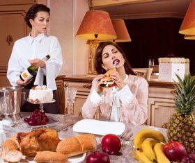 luxury women humor Stock Photo