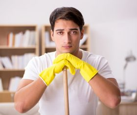 man who does not want to do housework Stock Photo