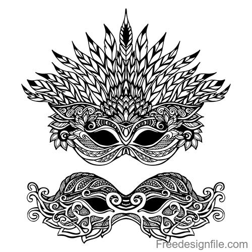 mask vintage decorative design vector
