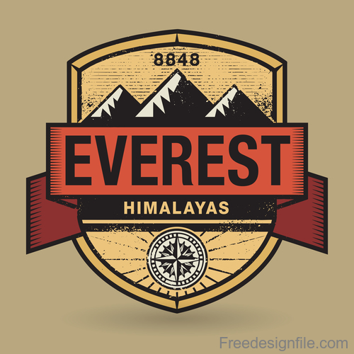 mountain retro labels design vector