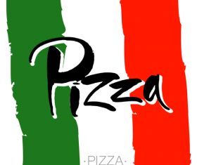 pizza lettering banner template vector design 01