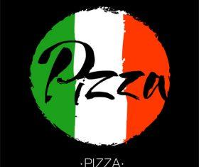 pizza lettering banner template vector design 02