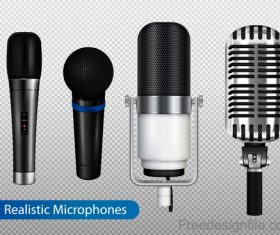 profesional microphone realistic set vector