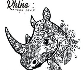 rhino head tribal style Hand drawn vector