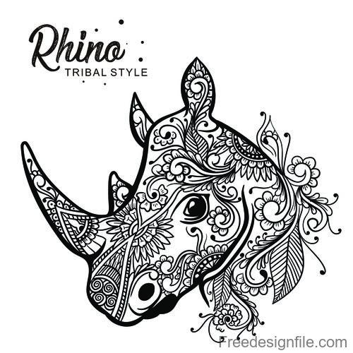 rhino head tribal style Hand drawn vector
