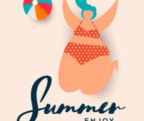 summer womens swinsuit background vector 03