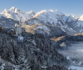 winter Neuschwanstein Castle Stock Photo