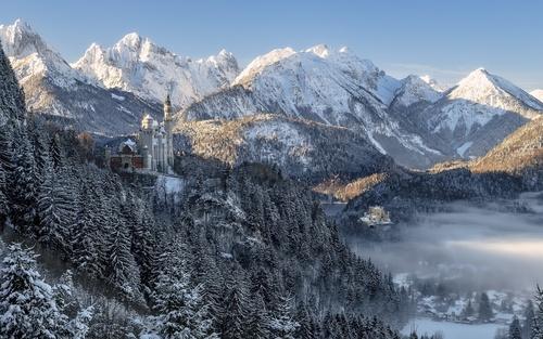 winter Neuschwanstein Castle Stock Photo