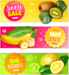 Sale fresh fruit banner vectors