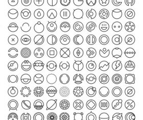 100 Round Icons vector