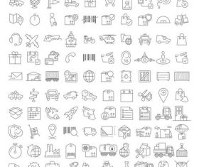 100 linear LOGISTICS icons vector
