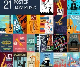 21 Kind Jazz music poster template vector