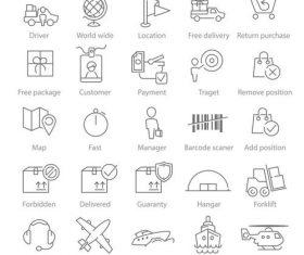 25 linear icons Logisctics vector