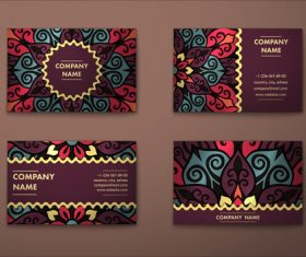 4 types of Ethnic Ornaments cards vector