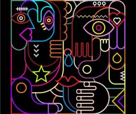 Abstract art neon vector