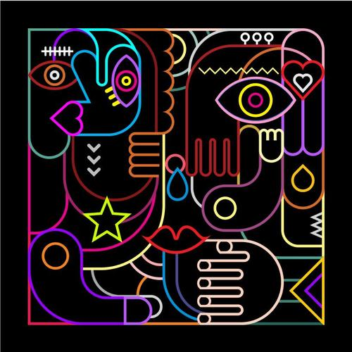 Abstract art neon vector