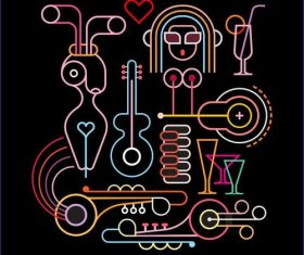 Abstract cabaret art vector