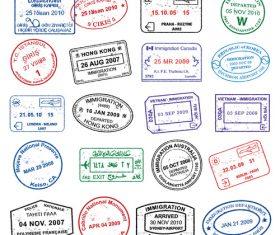 Access passport stamp vectors