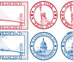 American landmark stamp vectors