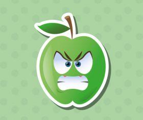Angry apple emoticon icon vector