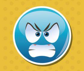 Angry emoticon icon vector