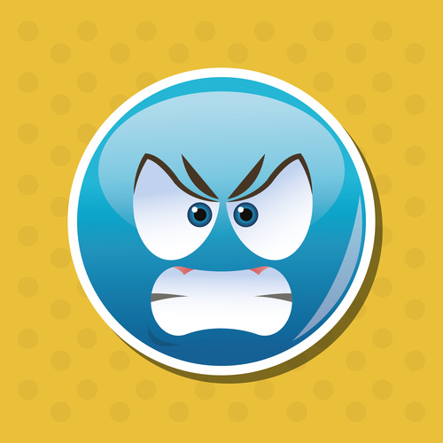Angry emoticon icon vector
