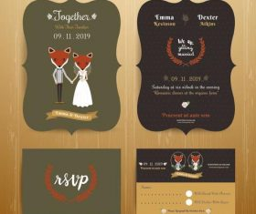 Animal bride and groom cartoon wedding card vector
