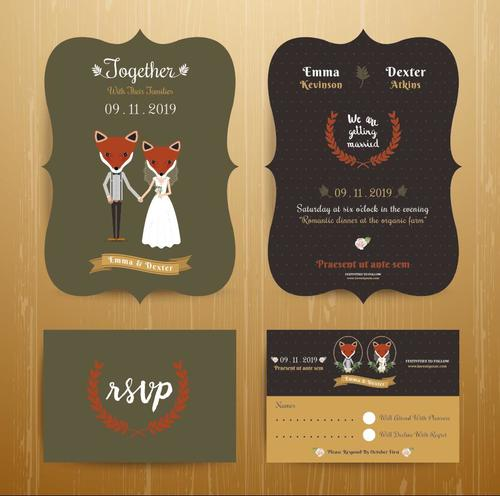 Animal bride and groom cartoon wedding card vector