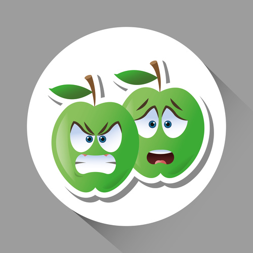 Apple emoticon icon vector