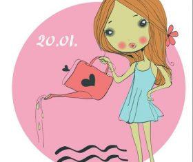 Aquarius girl cartoon vector