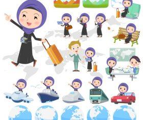Arab woman travel cartoon vector