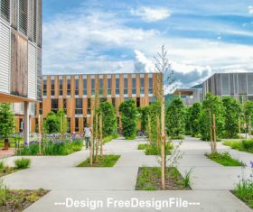 Architecture and Green Tree Scenery Stock Photo