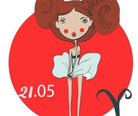 Aries girl cartoon vector