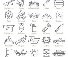 Armed conflict and war linear icons vector