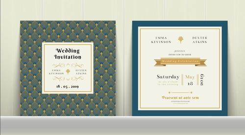 Art Deco Wedding Invitation Card in Gold and Blue vector